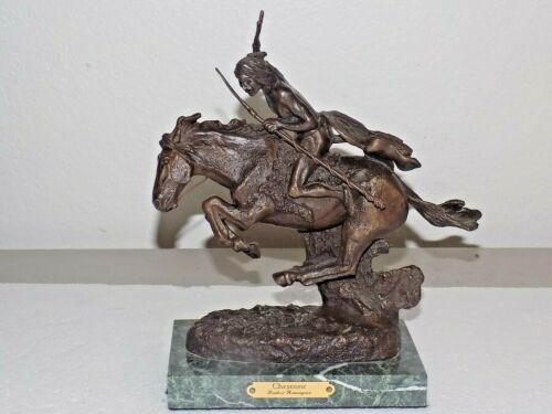 "8.5"" Tall Frederic Remington ""Cheyenne"" Bronze Sculpture Marble Base-No Repairs"