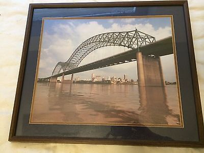 Framed Picture Memphis Bridge by Barney Sellers Signed with Glass (Barney With Glasses)