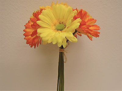 ORANGE YELLOW Gerbera Daisy Bundle 7 Artificial Silk Flowers 12
