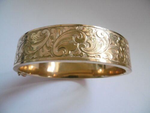LOVELY ANTIQUE ORNATE HAND ENGRAVED DECORATED ROLLED GOLD BANGLE 27.3G