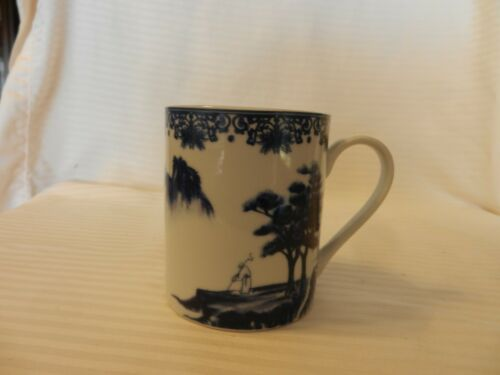 Cobalt Blue and White Coffee Cup Oriental Design Pagoda Lake from Canton Blue