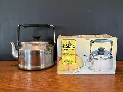 Vintage 1977 Kamenstein Stainless Steel 1 1/2 qt Tea Kettle Teapot #1787