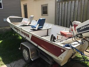 16 foot aluminum fishing boat (40 hp Johnson motor)