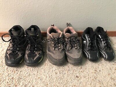 3 pairs of kids shoes hiking boots cleats size 1 boys girls Itasca Hi-Tec