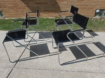 Mid Century Modern Italian Chrome Black Leather Arm Chairs Stacking / Dining