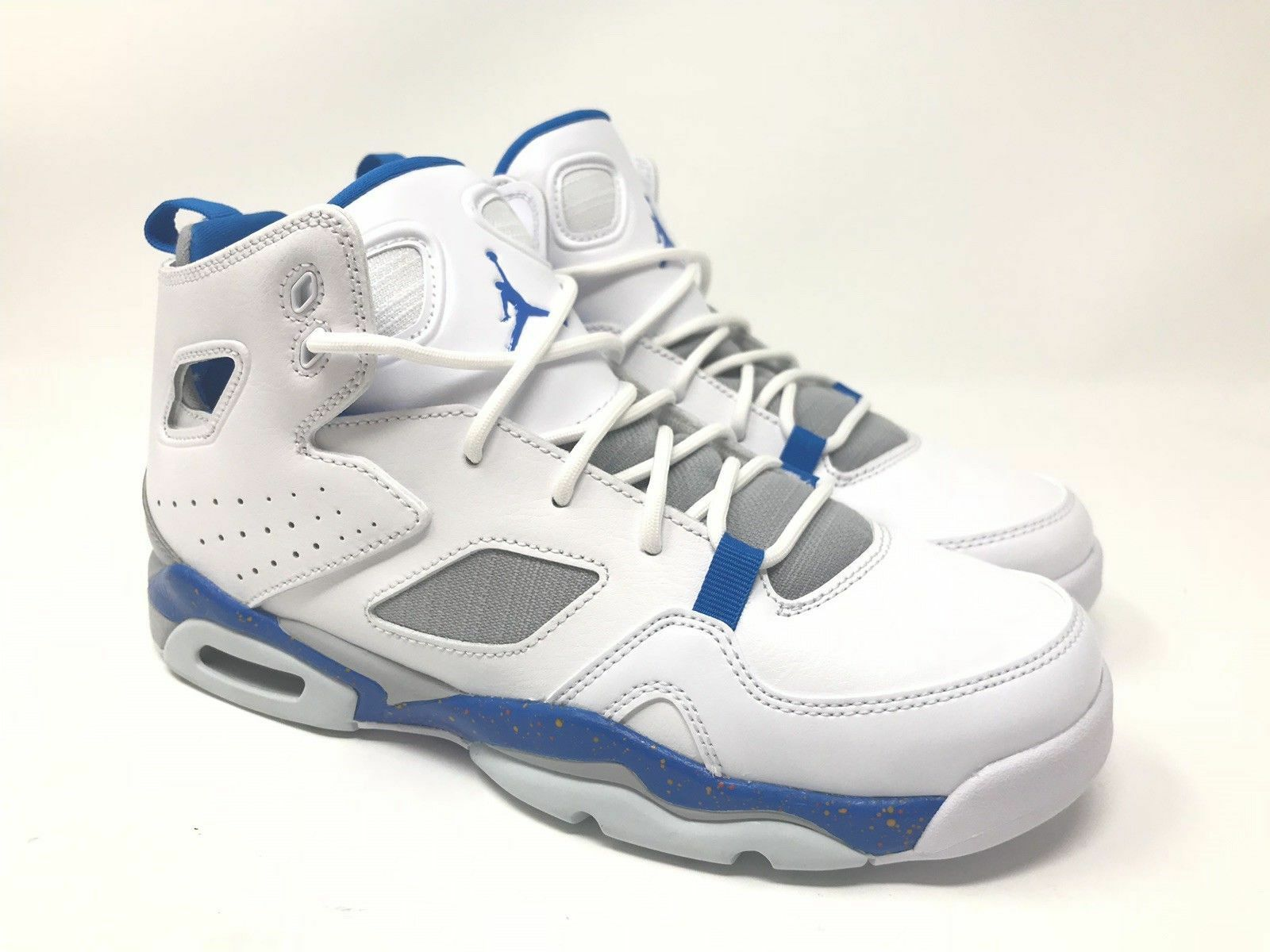 new concept c19ae 72821 Details about NIke Air Jordan Flight Club 91 Bball GS White Blue Wolf Grey  (555472 104) Sz 7Y