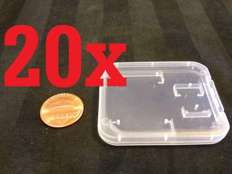 20x  Plastic transparent Clear Case Micro SD TF Card Box Protector 20pcs b11