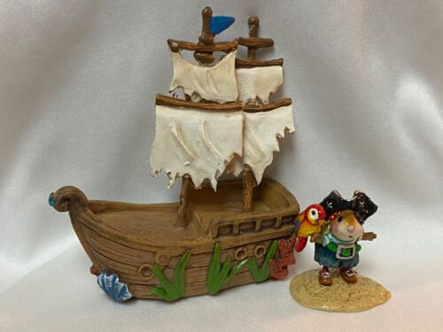 Wee Forest Folk Pirate's Parrot Pal with Non WFF Pirate Ship