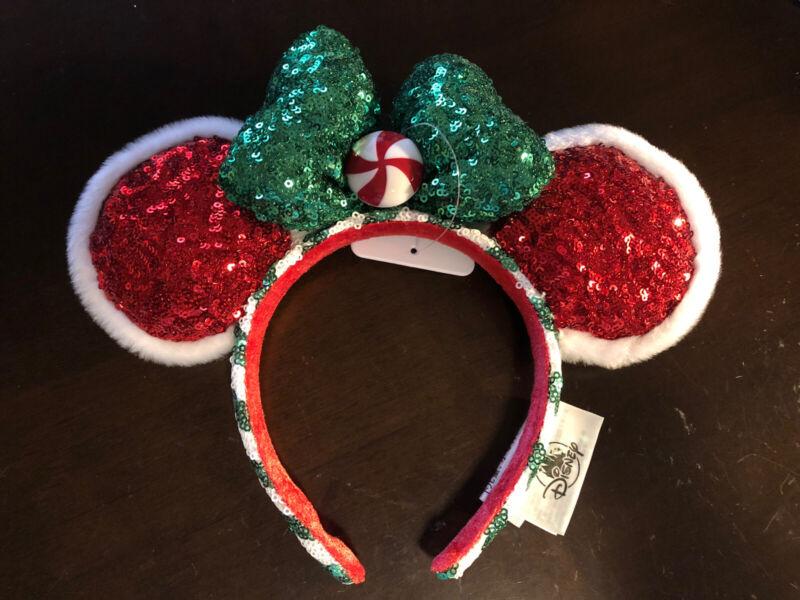 Disney Parks 2020 Christmas Holiday Red Peppermint Minnie Ears Headband NEW