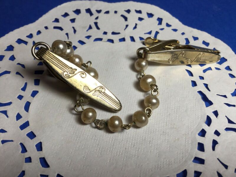 """PRETTY 7"""" GOLDTONE AND PEARL SWEATER GUARD CLIP NICE"""