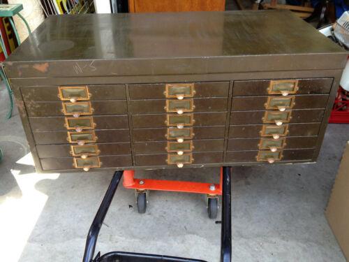 SUPERB ANTIQUE  - YAWMAN & ERBE 18 Drawer Metal cabinet   RARE