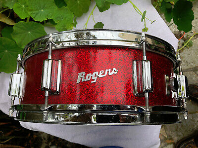 ROGERS VINTAGE POWERTONE SNARE 5x14 RED GLASS GLITTER PEARL (Red Sparkle) ~ NICE