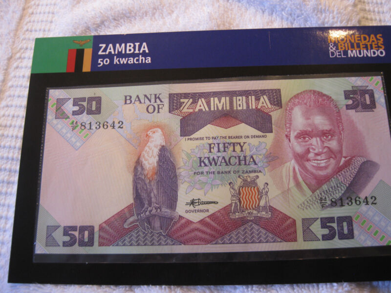 1992 Uncirculated 50 Kwacha Banknote plus 5 Coins from Zambia