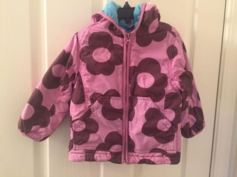 Mini Boden Floral Brown Purple Fleece Lined Anorak Jacket Girls Size 2-3 Years