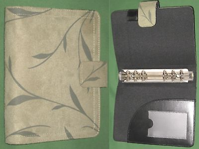 Compact 1.0 Green Floral Faux Suede Day Runner Planner Binder Franklin Covey 46