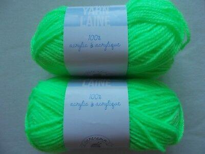 Neon Yarn (Needle Crafters  acrylic yarn, Neon Green, lot of 2 (115 yds)