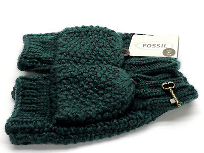 Fossil Emerald Green Kaitlyn Cable Knit Gloves Convertible Texting Mittens New