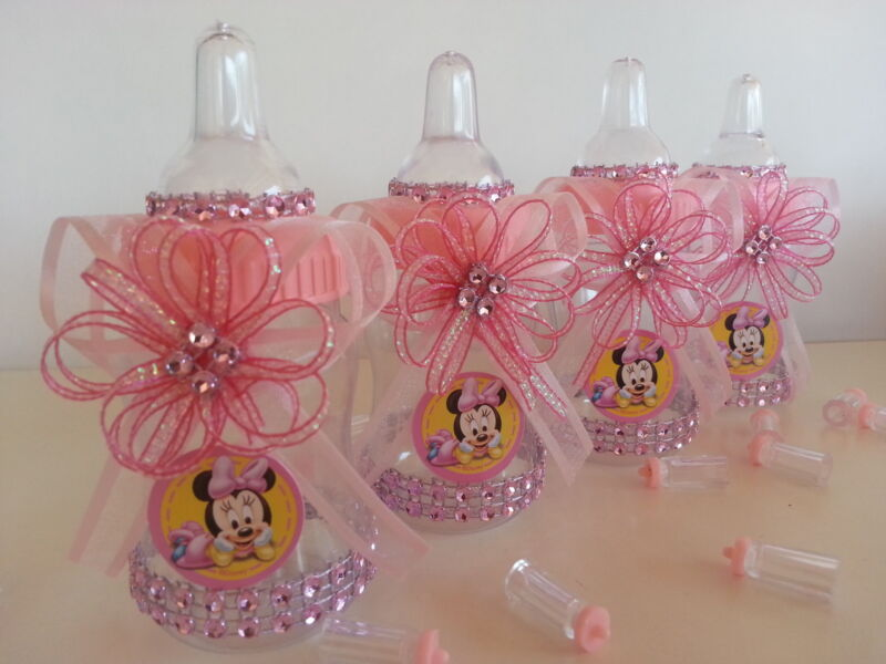 Minnie Mouse   12 Pink Fillable Bottles   Baby Shower Decorations  Favors   Girl