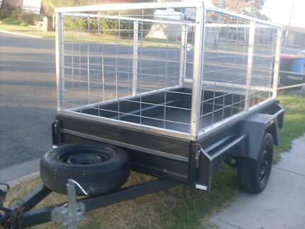 TRAILER ( 7 x 4 ) - WITH BOLT ON CAGE - CAN DELIVER - TOWS WELL