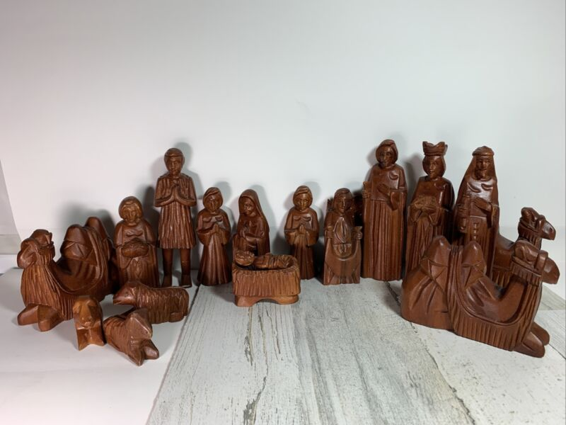 Folk Art Wood Carving Nativity Set 17 Pieces