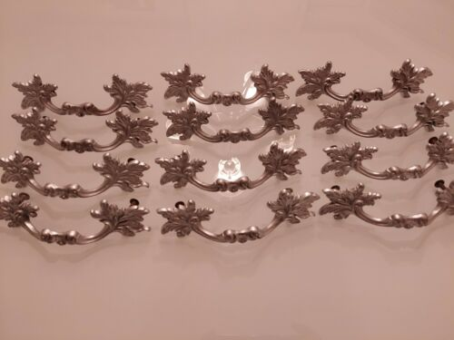 VINTAGE 60s FRENCH PROVINCIAL DRAWER PULLS Set of 12 SILVER 4 INCH CENTER