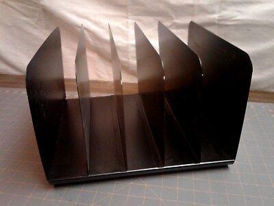 Vintage Industrial 5 Slot Black Metal Desk Organizer File Folder Holder