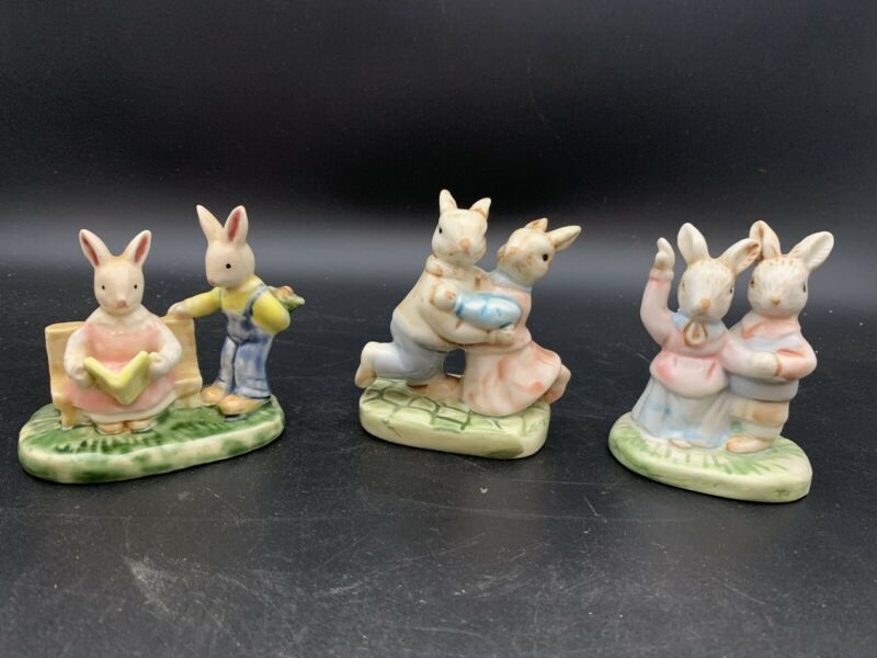 Lot Of  3 Ceramic Pottery Bunnies Easter Figurines Bunny/Rabbit/ Collectible