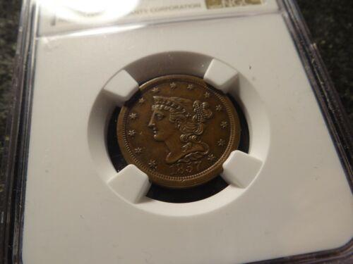 1857 NGC AU-58 Braided Hair Half Cent Chestnut Brown Well struck SLABZ