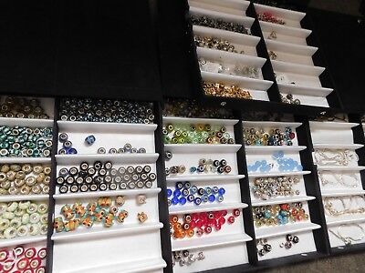 Four Boxes of Beads with Braclets, Spacers & Necklaces