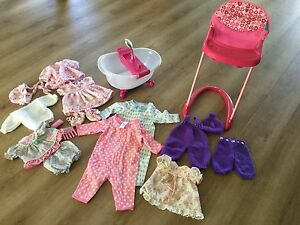 Doll (Cabbage Patch and Baby Born) clothes, bath and high chair Hobart CBD Hobart City Preview