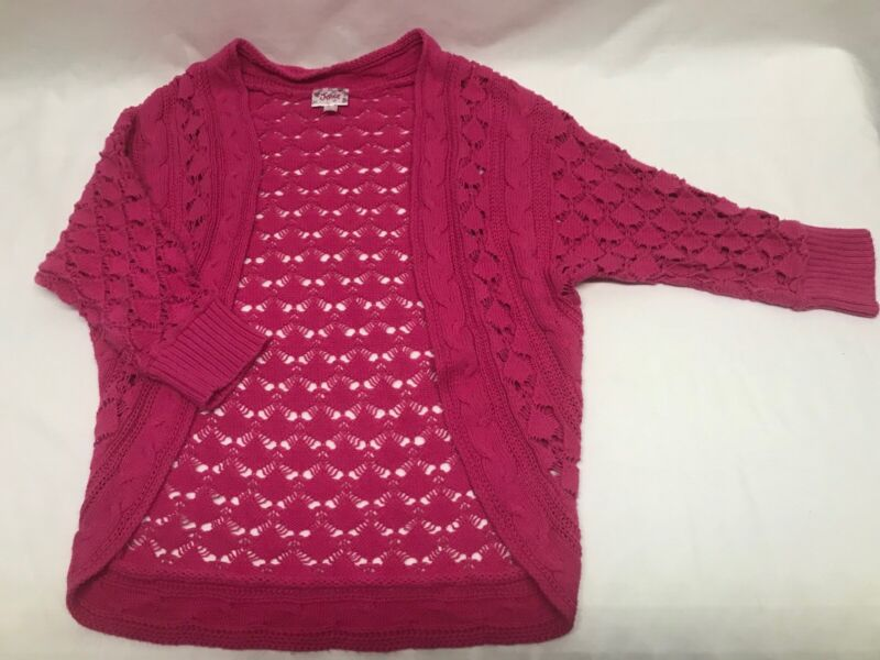 Girls Pink Justice Bolo Sweater Size 10 Short Sleeve Open Front