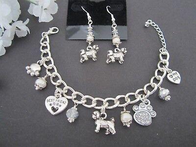 Lhasa Apso Dogs - Lhasa Apso / Shih Tzu / Maltese Dog Charm Bracelet & Earrings w/ Pearls Crystals