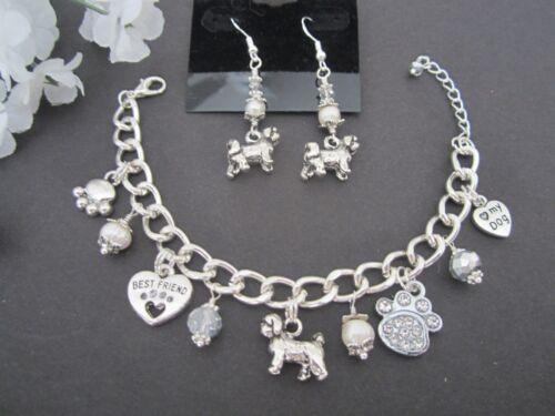 Lhasa Apso / Shih Tzu / Maltese Dog Charm Bracelet & Earrings w/ Pearls Crystals