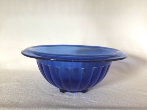 "Hazel Atlas Cobalt Blue Depression Glass 9 3/4"" Paneled Mixing Bowl"