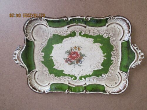 Vintage Hand Painted Florentine  Wooden  Tray Italy Toleware