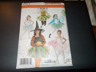 Simplicity COSTUME Pattern 2071 Bee~Ballerina~Clown~Witch~Fairy w/Tutus CUTE - Ballerina Clown Costume