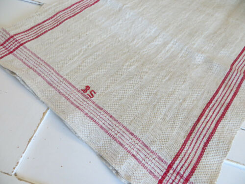 Antique  Rustic Handwoven Linen Towel Red St   Mono BS 43 inches german Unused