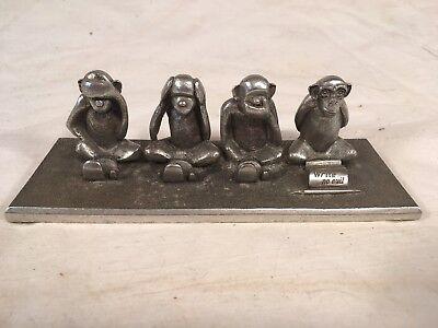 Monkey Pen Holder (Jac Zagoory Pewter Monkey See Hear Speak Write No Evil Pen Holder Rest )
