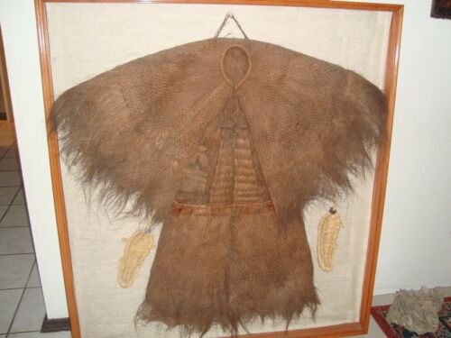 Antique Chinese Coconut Fiber Coir Raincoat Framed circa ~1920