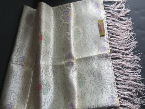 New Vintage Asian Satin Brocade Floral Double-sided TABLE RUNNER Silk Fringe