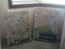 2x London Map Wall Hanging Revesby Heights Bankstown Area Preview