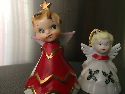 VINTAGE LEFTON 1956 CHRISTMAS CERAMIC ANGEL BELL FIGURINE STAR IN SLING SHOT +1