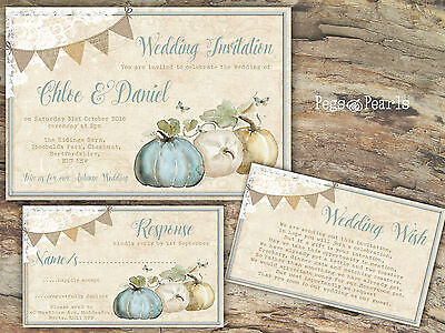 PERSONALISED RUSTIC BUNTING/LACE HALLOWEEN/AUTUMN WEDDING INVITATIONS PACKS OF10