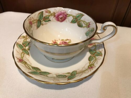 Victoria C & E Bone China England Cabbage Rose Tea Cup & Saucer   S227