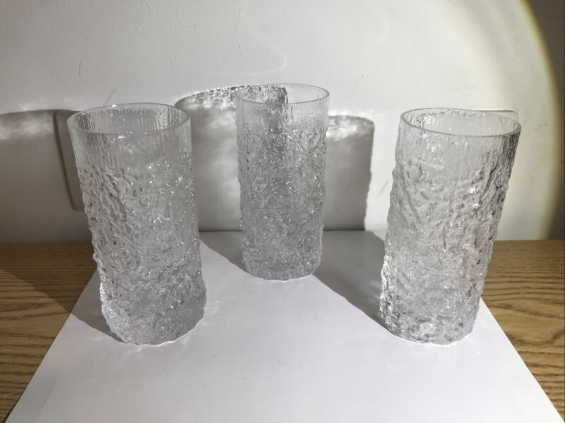 "THEEE WHITEFRIARS Glasses - GLACIER Pattern - 2.5""cross - 5.25""High Excellent"