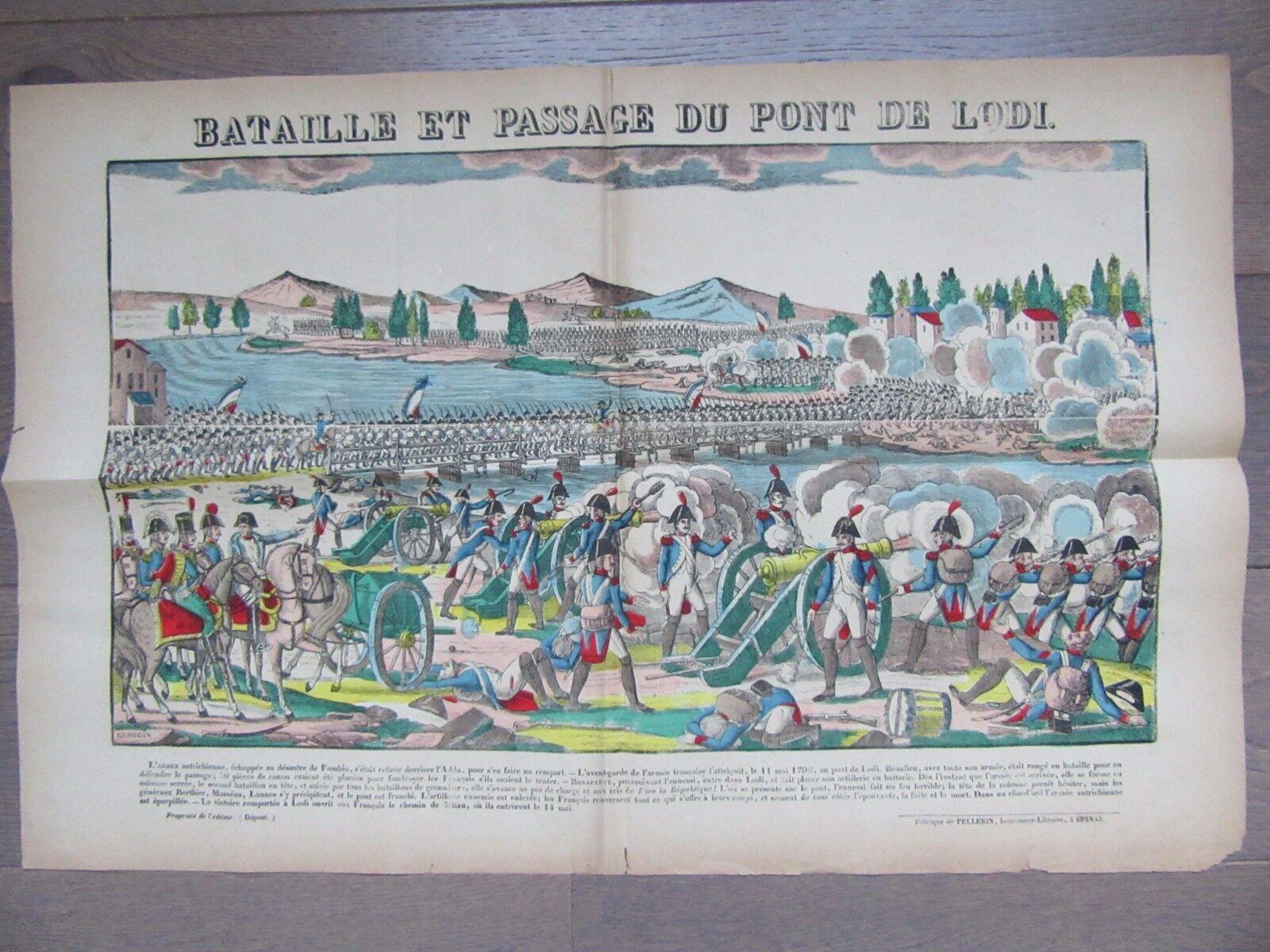GRANDE IMAGE EPINAL 1880 NAPOLEON BATAILLE ET PASSAGE DU PONT DE LODI MAI 1796