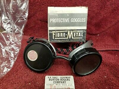 Vintage Fibre-metal Green Tinted Welding Goggles Usa