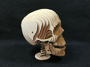 laser cut wooden skull 3d model puzzle kit ebay. Black Bedroom Furniture Sets. Home Design Ideas