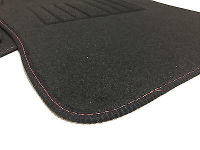 Universal Black Carpet Car Mats  set of 4 with RED stitching heel pad