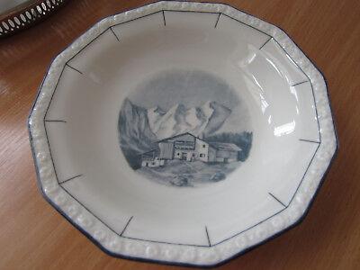 Den Blauen Teller (Rosenthal Maria Teller Handgemalt Lion D.S. Haus in den Bergen blau weiß )